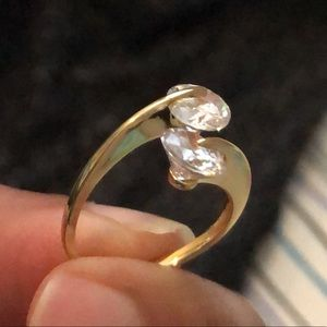 clear cubic zirconia sterling silver ring